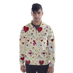 Valentinstag Love Hearts Pattern Red Yellow Wind Breaker (Men)
