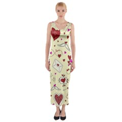 Valentinstag Love Hearts Pattern Red Yellow Fitted Maxi Dress