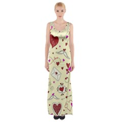Valentinstag Love Hearts Pattern Red Yellow Maxi Thigh Split Dress