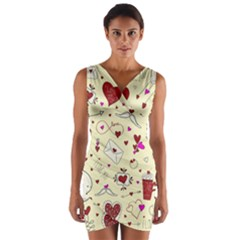 Valentinstag Love Hearts Pattern Red Yellow Wrap Front Bodycon Dress