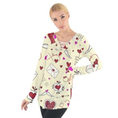 Valentinstag Love Hearts Pattern Red Yellow Women s Tie Up Tee
