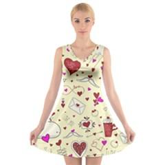 Valentinstag Love Hearts Pattern Red Yellow V-Neck Sleeveless Skater Dress