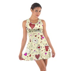 Valentinstag Love Hearts Pattern Red Yellow Cotton Racerback Dress