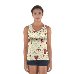 Valentinstag Love Hearts Pattern Red Yellow Women s Sport Tank Top
