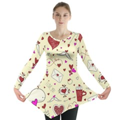 Valentinstag Love Hearts Pattern Red Yellow Long Sleeve Tunic