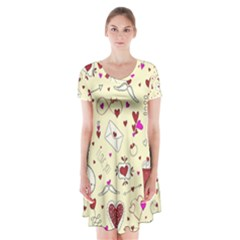 Valentinstag Love Hearts Pattern Red Yellow Short Sleeve V-neck Flare Dress