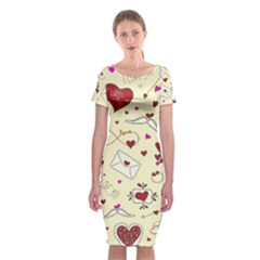 Valentinstag Love Hearts Pattern Red Yellow Classic Short Sleeve Midi Dress