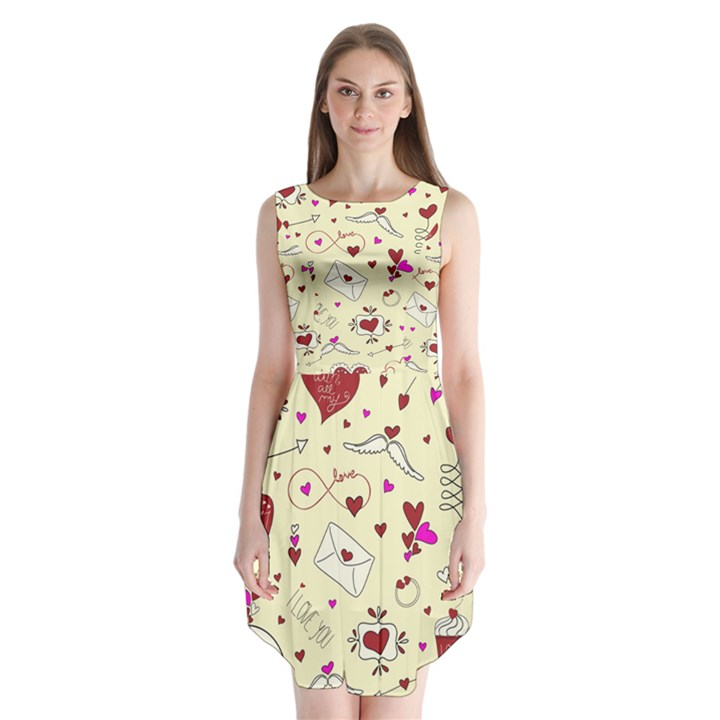 Valentinstag Love Hearts Pattern Red Yellow Sleeveless Chiffon Dress