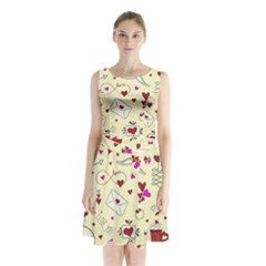 Valentinstag Love Hearts Pattern Red Yellow Sleeveless Chiffon Waist Tie Dress