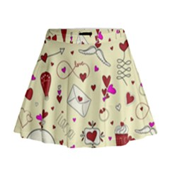 Valentinstag Love Hearts Pattern Red Yellow Mini Flare Skirt
