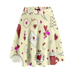 Valentinstag Love Hearts Pattern Red Yellow High Waist Skirt