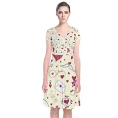 Valentinstag Love Hearts Pattern Red Yellow Short Sleeve Front Wrap Dress