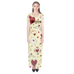 Valentinstag Love Hearts Pattern Red Yellow Short Sleeve Maxi Dress