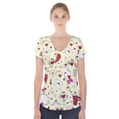 Valentinstag Love Hearts Pattern Red Yellow Short Sleeve Front Detail Top