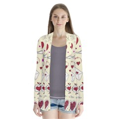 Valentinstag Love Hearts Pattern Red Yellow Cardigans