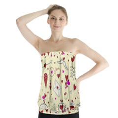 Valentinstag Love Hearts Pattern Red Yellow Strapless Top