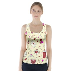 Valentinstag Love Hearts Pattern Red Yellow Racer Back Sports Top