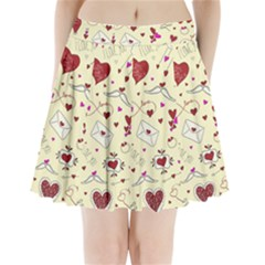 Valentinstag Love Hearts Pattern Red Yellow Pleated Mini Skirt