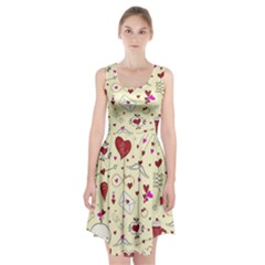 Valentinstag Love Hearts Pattern Red Yellow Racerback Midi Dress
