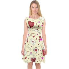 Valentinstag Love Hearts Pattern Red Yellow Capsleeve Midi Dress