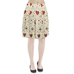 Valentinstag Love Hearts Pattern Red Yellow Pleated Skirt