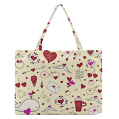 Valentinstag Love Hearts Pattern Red Yellow Medium Zipper Tote Bag