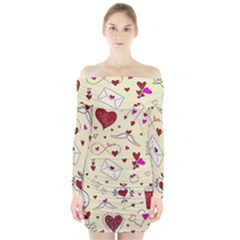 Valentinstag Love Hearts Pattern Red Yellow Long Sleeve Off Shoulder Dress
