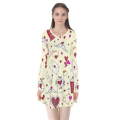 Valentinstag Love Hearts Pattern Red Yellow Flare Dress