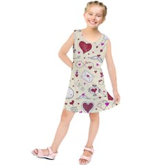 Valentinstag Love Hearts Pattern Red Yellow Kids  Tunic Dress