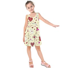 Valentinstag Love Hearts Pattern Red Yellow Kids  Sleeveless Dress