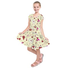 Valentinstag Love Hearts Pattern Red Yellow Kids  Short Sleeve Dress