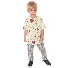 Valentinstag Love Hearts Pattern Red Yellow Kids  Raglan Tee