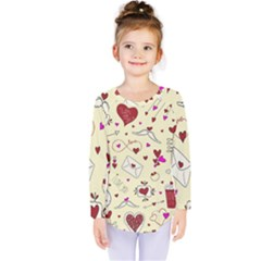 Valentinstag Love Hearts Pattern Red Yellow Kids  Long Sleeve Tee
