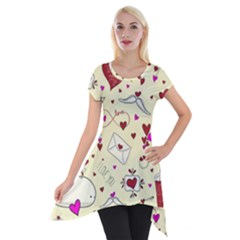 Valentinstag Love Hearts Pattern Red Yellow Short Sleeve Side Drop Tunic