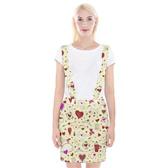 Valentinstag Love Hearts Pattern Red Yellow Braces Suspender Skirt