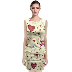 Valentinstag Love Hearts Pattern Red Yellow Sleeveless Velvet Midi Dress