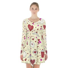 Valentinstag Love Hearts Pattern Red Yellow Long Sleeve Velvet V Neck Dress
