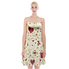 Valentinstag Love Hearts Pattern Red Yellow Spaghetti Strap Velvet Dress
