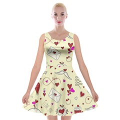 Valentinstag Love Hearts Pattern Red Yellow Velvet Skater Dress