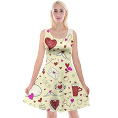 Valentinstag Love Hearts Pattern Red Yellow Reversible Velvet Sleeveless Dress