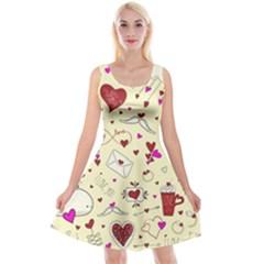 Valentinstag Love Hearts Pattern Red Yellow Reversible Velvet Sleeveless Dress