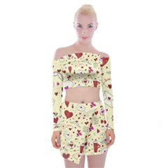 Valentinstag Love Hearts Pattern Red Yellow Off Shoulder Top With Skirt Set