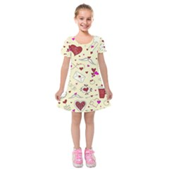 Valentinstag Love Hearts Pattern Red Yellow Kids  Short Sleeve Velvet Dress