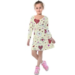 Valentinstag Love Hearts Pattern Red Yellow Kids  Long Sleeve Velvet Dress