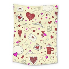Valentinstag Love Hearts Pattern Red Yellow Medium Tapestry