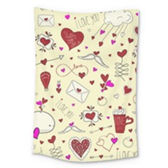 Valentinstag Love Hearts Pattern Red Yellow Large Tapestry