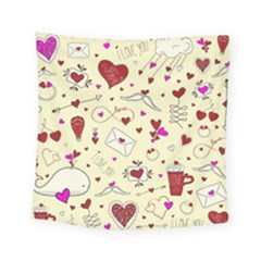 Valentinstag Love Hearts Pattern Red Yellow Square Tapestry (small)