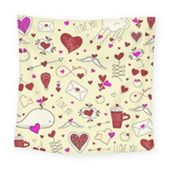 Valentinstag Love Hearts Pattern Red Yellow Square Tapestry (large)