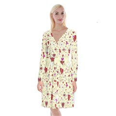 Valentinstag Love Hearts Pattern Red Yellow Long Sleeve Velvet Front Wrap Dress