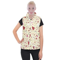 Valentinstag Love Hearts Pattern Red Yellow Women s Button Up Puffer Vest